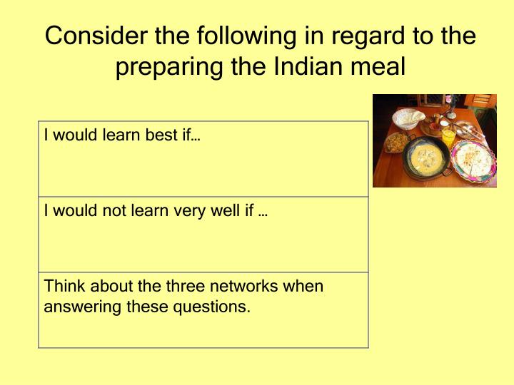 Consider the following in regard to the preparing the Indian meal