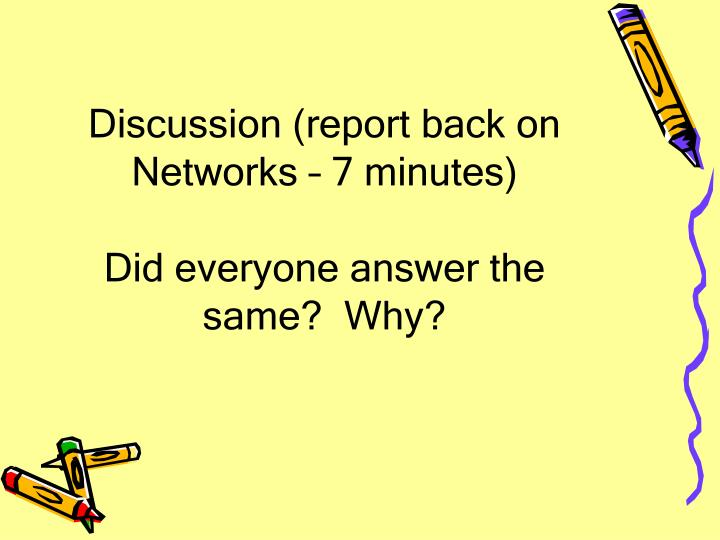 Discussion (report back on Networks – 7 minutes)