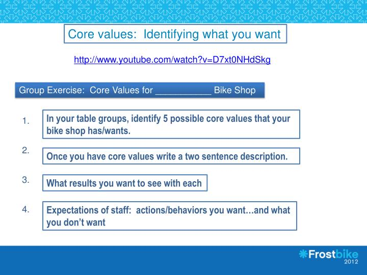 Core values:  Identifying what you want
