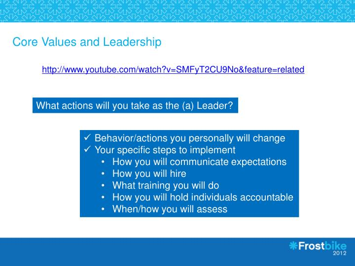 Core Values and Leadership