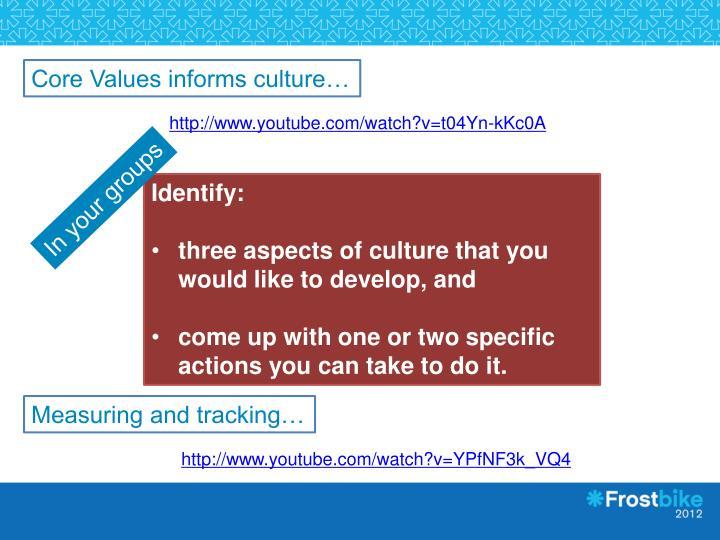 Core Values informs culture…