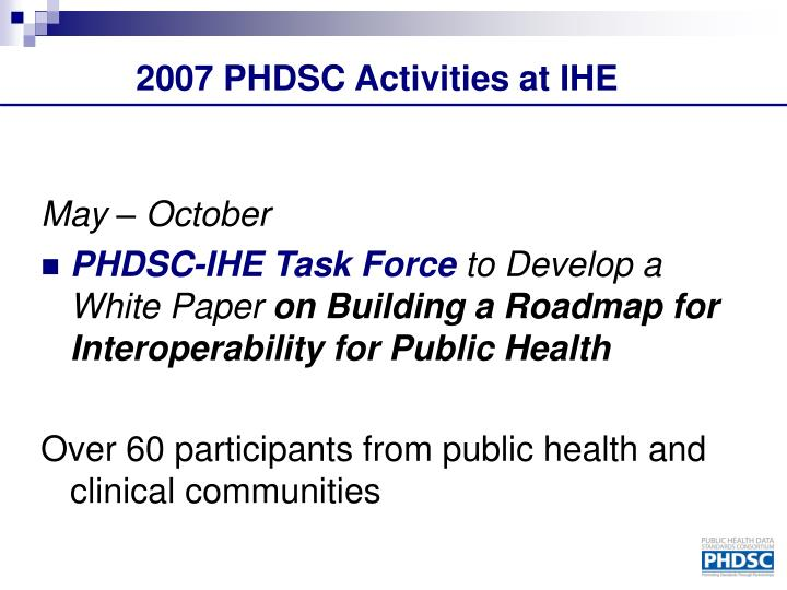 2007 PHDSC Activities at IHE