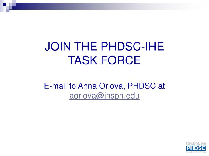JOIN THE PHDSC-IHE