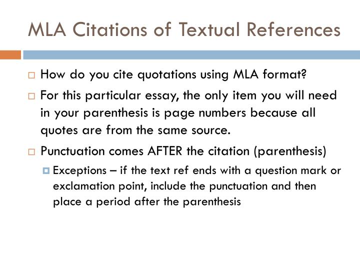 MLA Citations of Textual References
