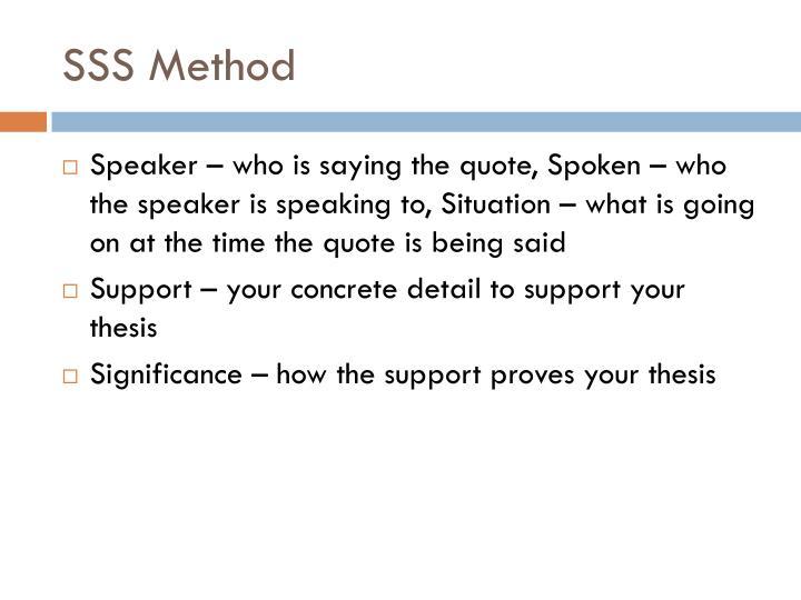 SSS Method