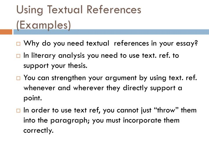 Using textual references examples
