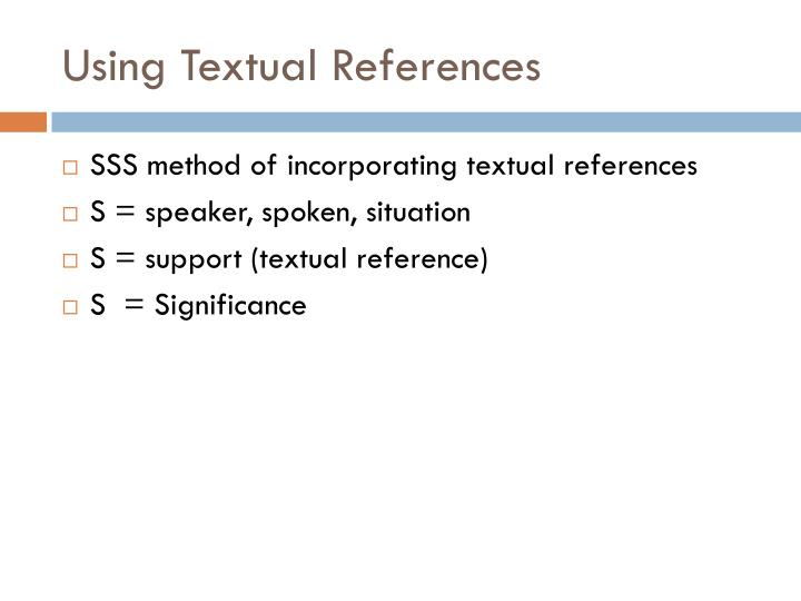 Using textual references