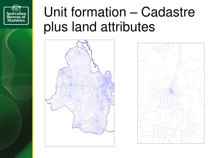 Unit formation – Cadastre plus land attributes
