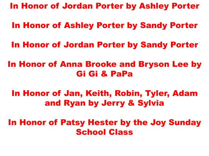 In Honor of Jordan Porter by Ashley Porter