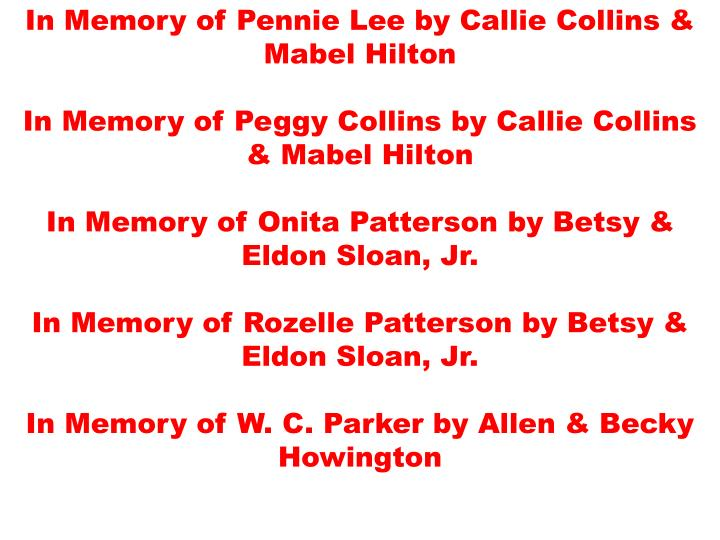 In Memory of Pennie Lee by Callie Collins & Mabel Hilton