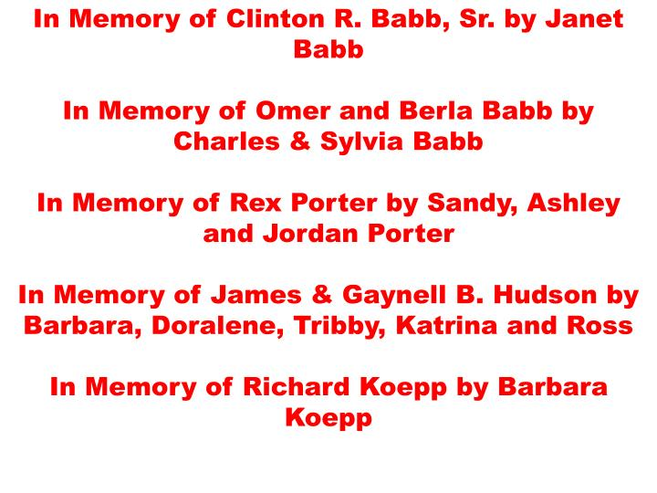 In Memory of Clinton R. Babb, Sr. by Janet Babb