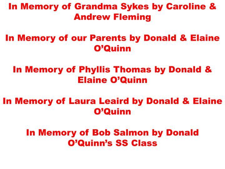 In Memory of Grandma Sykes by Caroline & Andrew Fleming