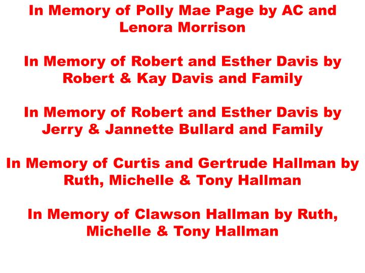 In Memory of Polly Mae Page by AC and Lenora Morrison