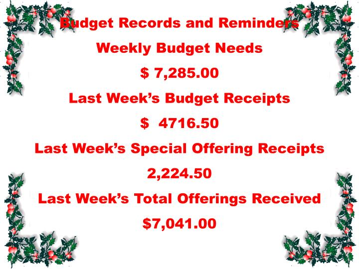 Budget Records and Reminders