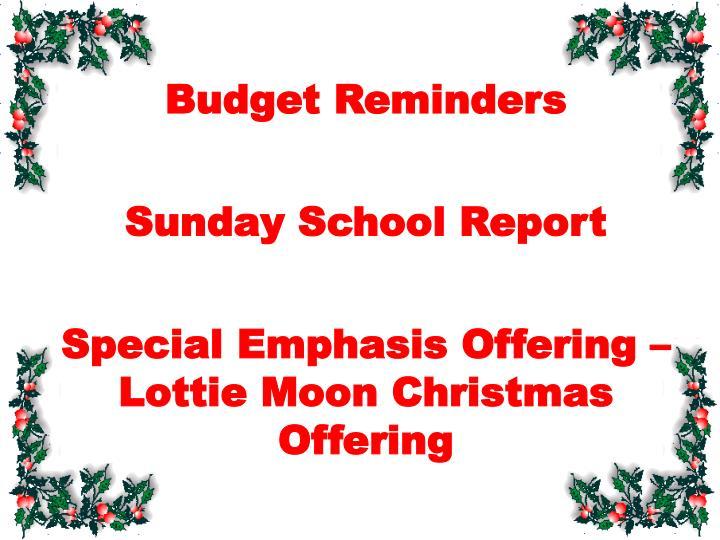 Budget Reminders