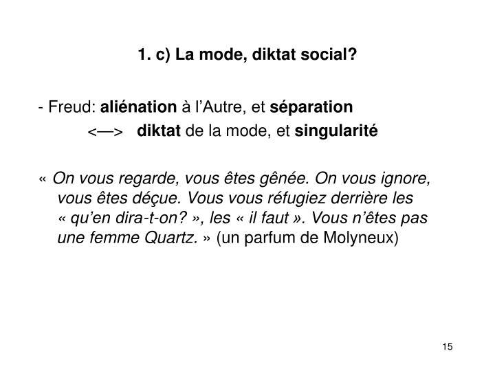 1. c) La mode, diktat social?