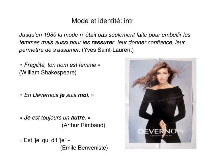 Mode et identité: intr