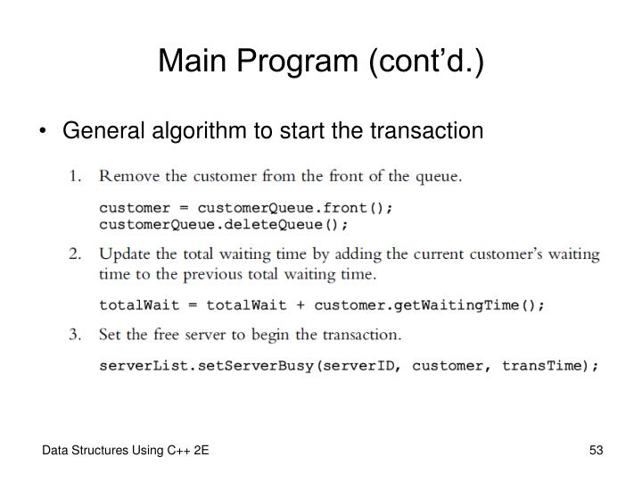 Main Program (cont'd.)