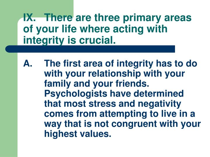 IX.There are three primary areas of your life where acting with integrity is crucial.