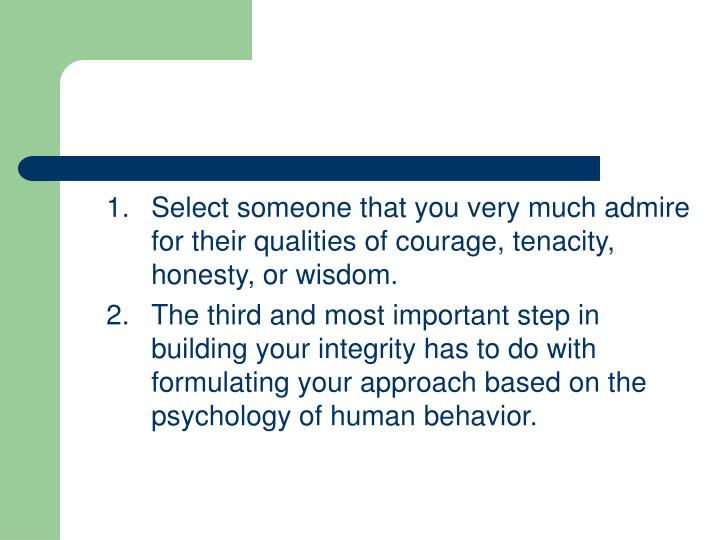 1.Select someone that you very much admire for their qualities of courage, tenacity, honesty, or wisdom.
