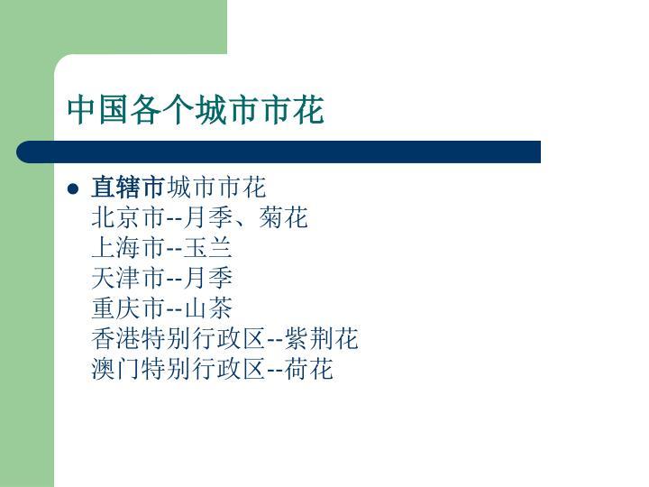 中国各个城市市花