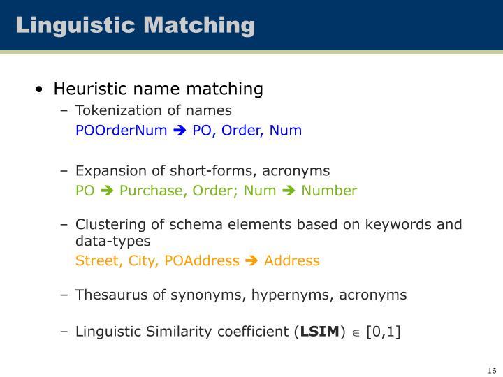 Linguistic Matching