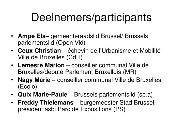 Deelnemers/participants
