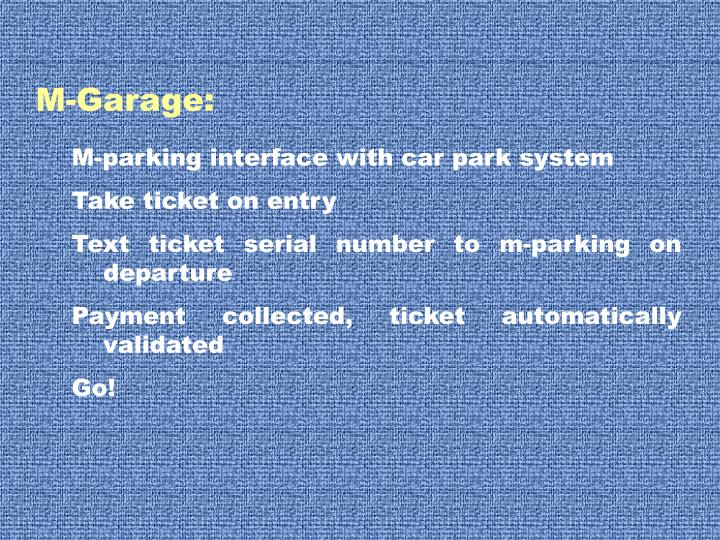 M-parking interface with car park system
