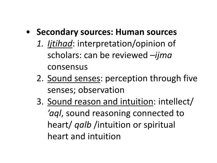 Secondary sources: Human sources