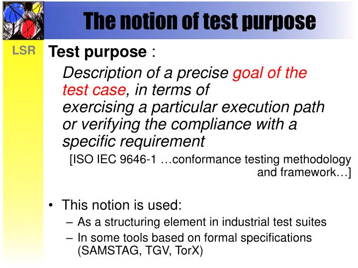 The notion of test purpose