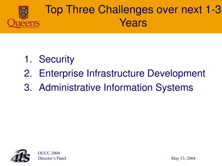 Top Three Challenges over next 1-3 Years
