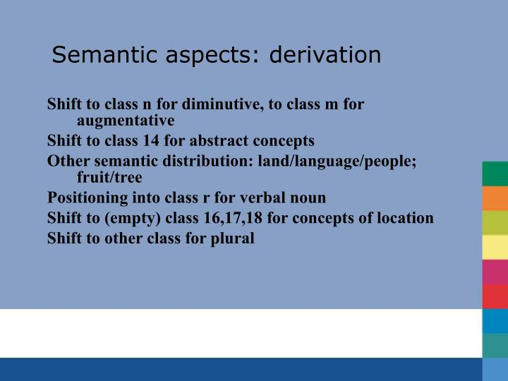 Semantic aspects: derivation