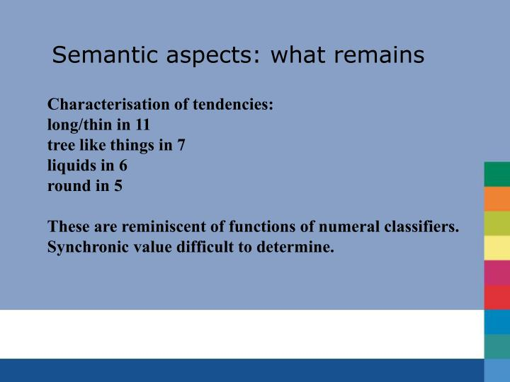 Semantic aspects: what remains