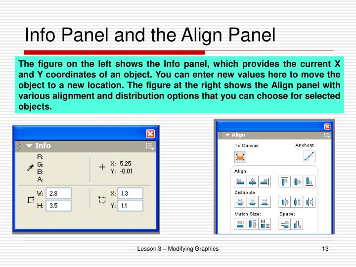Info Panel and the Align Panel