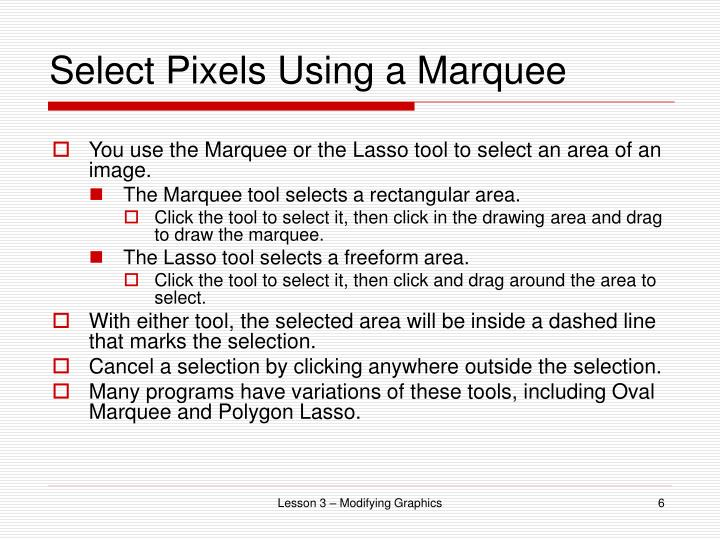 Select Pixels Using a Marquee