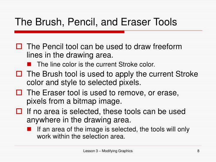 The Brush, Pencil, and Eraser Tools