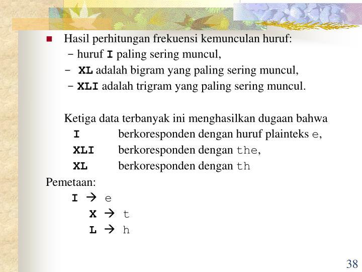 Hasil perhitungan frekuensi kemunculan huruf: