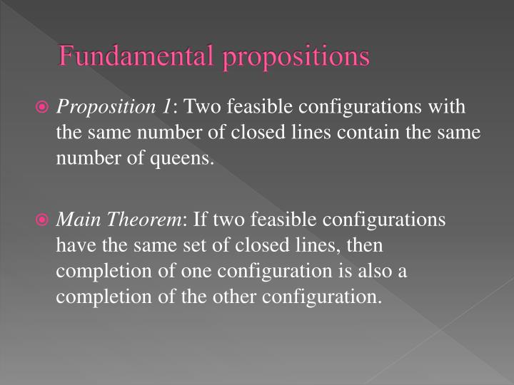 Fundamental propositions