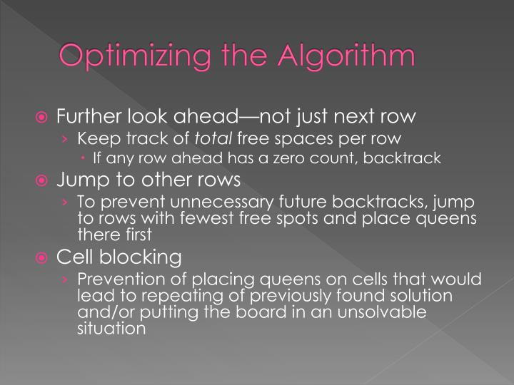 Optimizing the Algorithm