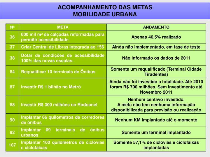 ACOMPANHAMENTO DAS METAS