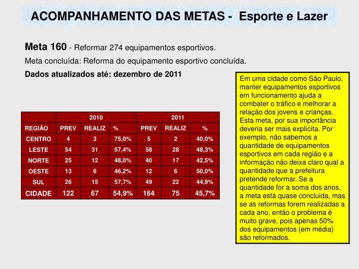 ACOMPANHAMENTO DAS METAS -  Esporte e Lazer