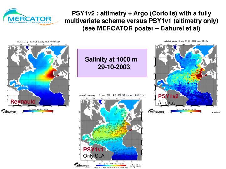 PSY1v2 : altimetry + Argo (Coriolis) with a fully multivariate scheme versus PSY1v1 (altimetry only)