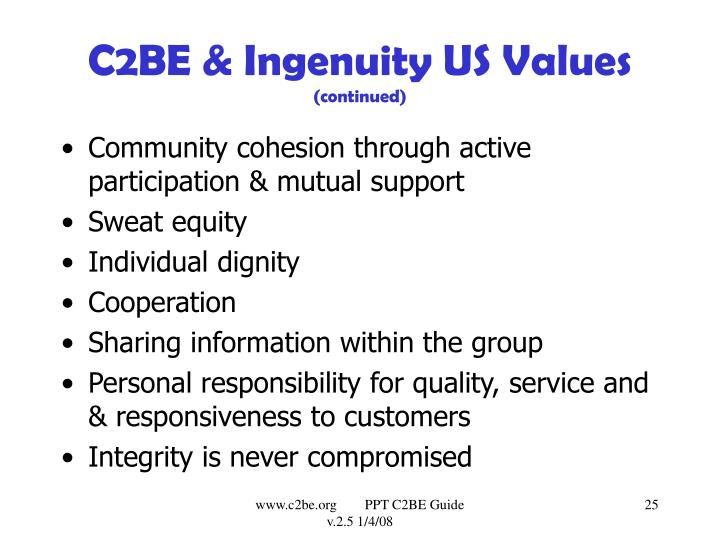 C2BE & Ingenuity US Values
