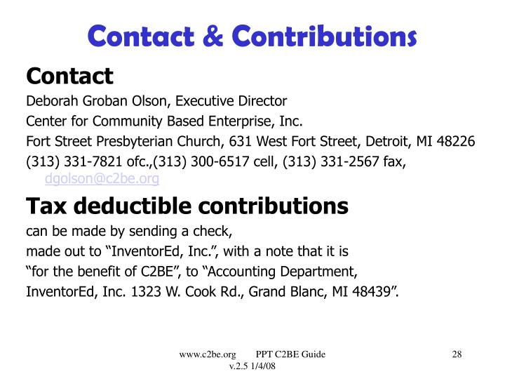 Contact & Contributions