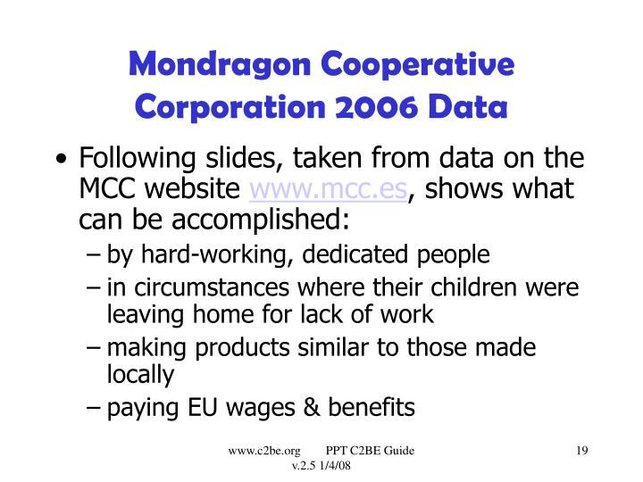 Mondragon Cooperative Corporation 2006 Data