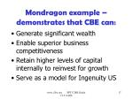 mondragon example demonstrates that cbe can