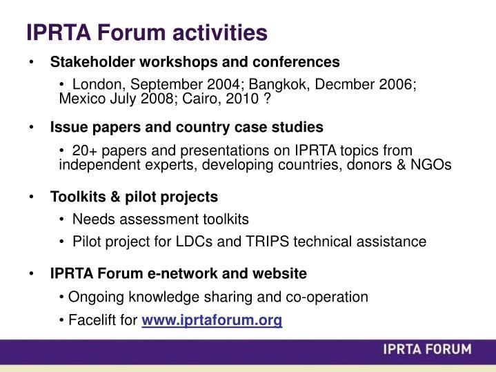 IPRTA Forum activities