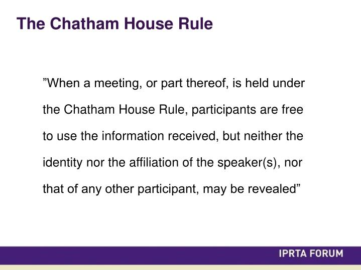 The Chatham House Rule