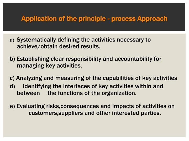 Application of the principle - process Approach