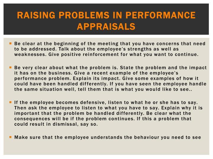 Raising problems in performance appraisals